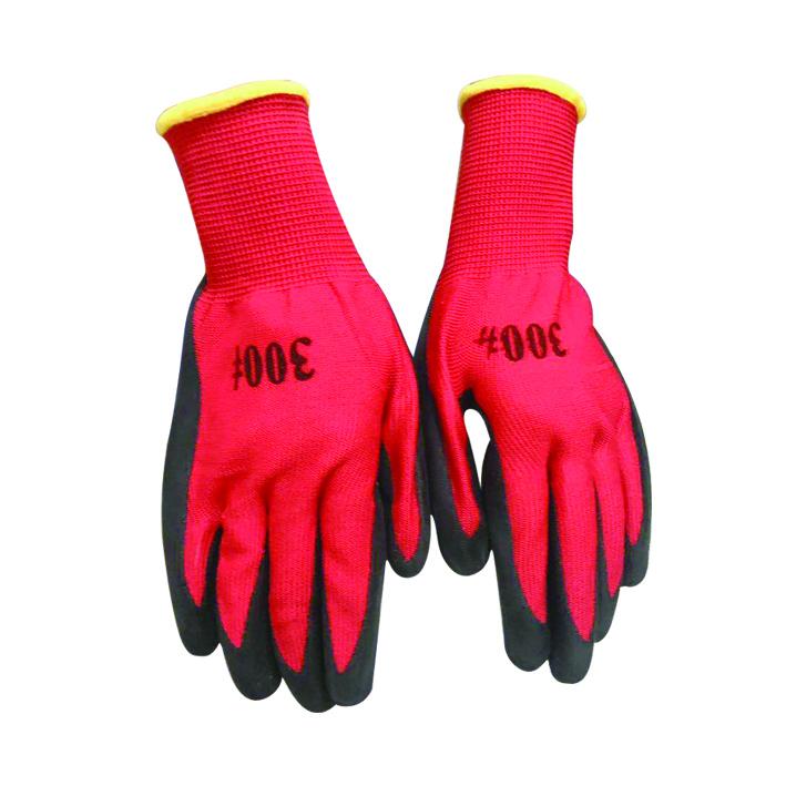 13针红沙黑尼龙皱手套