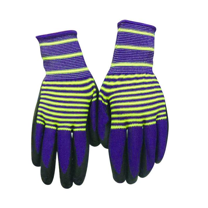 彩条尼龙皱纹手套